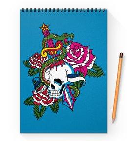 """Блокнот на пружине А4 """"Череп"""" - роза, змей, кинжал, череп"""