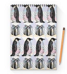 """Блокнот на пружине А4 """"пингвины"""" - новый год, зима, птицы, подарки, пингвин"""