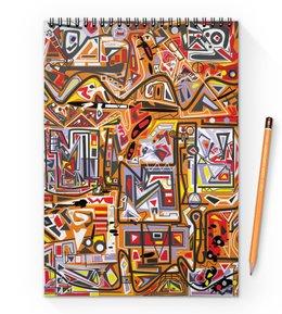 """Блокнот на пружине А4 """"Оранжевый дом."""" - арт, узор, абстракция, фигуры, текстура"""
