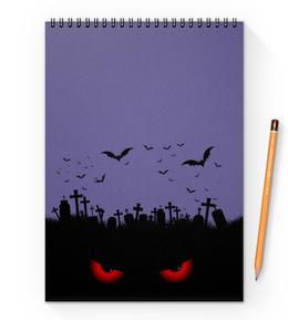 """Блокнот на пружине А4 """"Взгляд оттуда"""" - рисунок, взгляд, хэллоуин, летучие мыши, кладбище"""