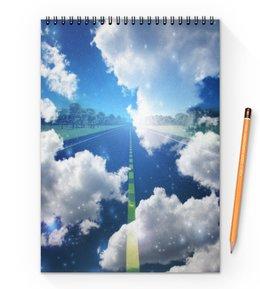 """Блокнот на пружине А4 """"облака"""" - дорога, небо, облака, природа, тучи"""