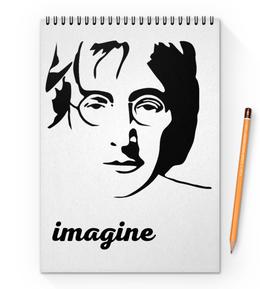 """Блокнот на пружине А4 """"Джон Леннон"""" - битлз, кумир, легенда, леннон, вдохновение"""