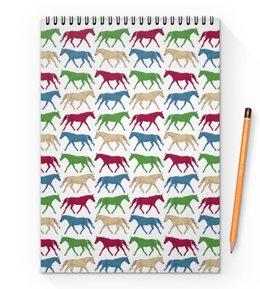 """Блокнот на пружине А4 """"цветные лошадки"""" - лошадь, лошади, графика, конь, кобыла"""