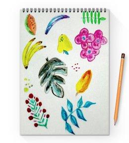 """Блокнот на пружине А4 """"Фрукты"""" - цветы, фрукты, ягоды, арбуз"""