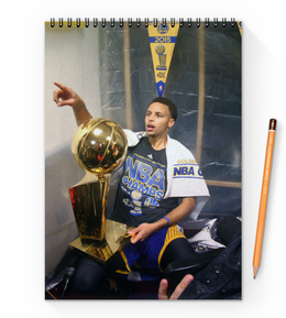 "Блокнот на пружине А4 ""Stephen Curry"" - баскетбол, nba, нба, golden state warriors, стефен карри"