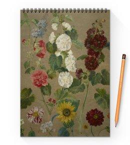 "Блокнот на пружине А4 ""Цветы (картина Эжена Делакруа)"" - цветы, картина, живопись, делакруа, романтизм"