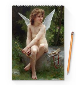 """Блокнот на пружине А4 """"Подстерегающая любовь (Вильям Бугро)"""" - картина, живопись, купидон, амур, бугро"""