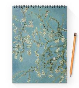 "Блокнот на пружине А4 ""Цветы миндаля (Ван Гог)"" - картина, ван гог"