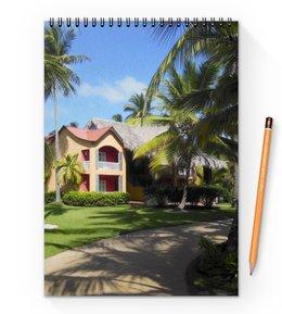 """Блокнот на пружине А4 """"""""Доминикана. Тропический сад"""""""" - лето, путешествия, travel, пальмы, доминикана"""