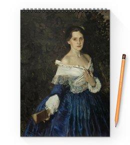 "Блокнот на пружине А4 ""Дама в голубом (картина Сомова)"" - картина, портрет, живопись, модерн, сомов"
