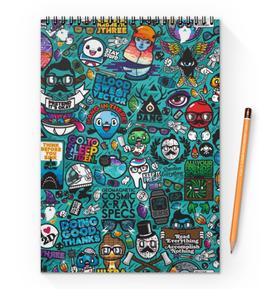 "Блокнот на пружине А4 ""Stickers"" - арт, дизайн, графика, рисунок, стиль"