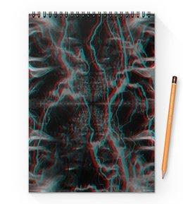 """Блокнот на пружине А4 """"Молния"""" - узор, космос, краски, абстракция, молния"""