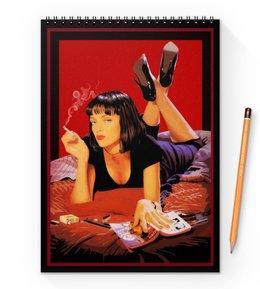 "Блокнот на пружине А4 ""Pulp Fiction (Ума Турман)"" - ума турман, тарантино, криминальное чтиво, mia, культовое кино"