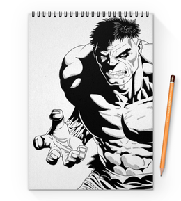 "Блокнот на пружине А4 ""Халк (Hulk)"" - комиксы, hulk, мстители, avengers, марвел"
