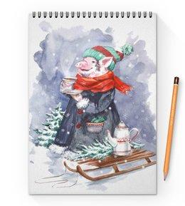 """Блокнот на пружине А4 """"Теплого чая в морозный день"""" - новый год, свинка, поросенок, свинья символ года, символ 2019"""