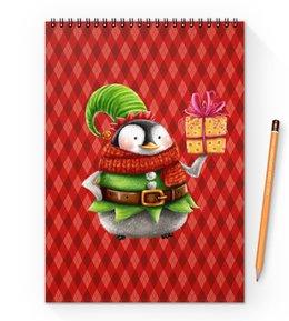 """Блокнот на пружине А4 """"пингвин"""" - новый год, зима, птицы, подарки, пингвин"""