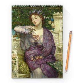 """Блокнот на пружине А4 """"Лесбия и её воробушек (Эдвард Пойнтер)"""" - картина, живопись, мифология, пойнтер"""
