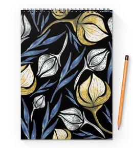 """Блокнот на пружине А4 """"Цветы"""" - цветы, листья, природа, растения, акварель"""