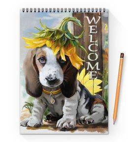 """Блокнот на пружине А4 """"Собака"""" - цветок, собака, животное"""