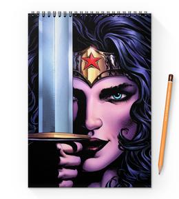 "Блокнот на пружине А4 ""Чудо-Женщина (Wonder Woman)"" - комиксы, dc comics, wonder woman, justice league, лига справедливости"