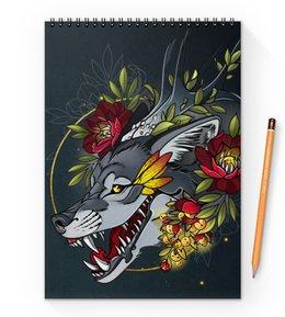 """Блокнот на пружине А4 """"Wolf smile"""" - волк, wolf"""