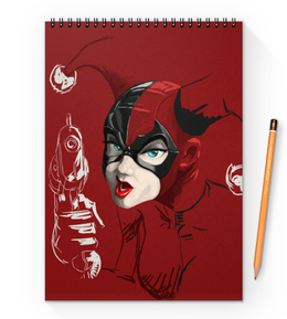 "Блокнот на пружине А4 ""Харли Квинн"" - комиксы, джокер, бэтмен, harley quinn, dc comics"