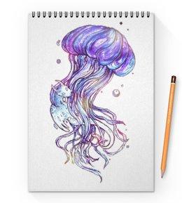 "Блокнот на пружине А4 ""Медуза"" - иллюстрация, акварель, медуза, ручная графика"