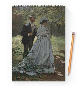 "Блокнот на пружине А4 ""Базиль и Камилла (картина Клода Моне)"" - любовь, картина, импрессионизм, живопись, моне"