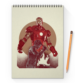 """Блокнот на пружине А4 """"Железный человек"""" - марвел, комиксы, мстители, iron man, avengers"""