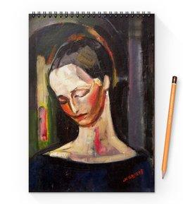 """Блокнот на пружине А4 """"Женский портрет (картина Ильи Машкова)"""" - картина, портрет, живопись, машков"""