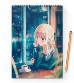 """Блокнот на пружине А4 """"Девочка с кофе"""" - аниме, девочкам, ня"""