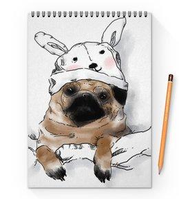 "Блокнот на пружине А4 ""Мопс в шапочке"" - заяц, пес, щенок, собака, мопс"
