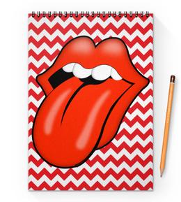 """Блокнот на пружине А4 """"The Rolling Stones"""" - the rolling stones, рок, музыка, rock, music"""