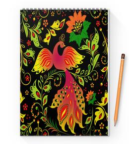 "Блокнот на пружине А4 ""Жар-птица"" - цветы, узор, лес, ягоды, жар-птица"