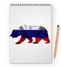 "Блокнот на пружине А4 ""Русский Медведь"" - bear, медведь, русский, флаг, russian"