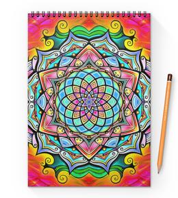 """Блокнот на пружине А4 """"Mandala HD2"""" - узор, ретро, классика, этно, симметрия"""
