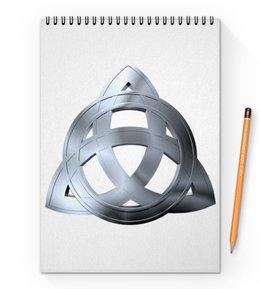 "Блокнот на пружине А4 ""Трилистник"" - трилистник, зачарованные, трикветр, книга таинств, три стихии"