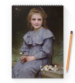 "Блокнот на пружине А4 ""Маргаритки (картина Вильяма Бугро)"" - цветы, картина, академизм, живопись, бугро"