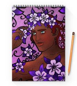 """Блокнот на пружине А4 """"Принц цветов"""" - цветы, фэнтези, dragon age, арт-нуво, себастьян ваэль"""