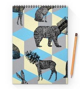"""Блокнот на пружине А4 """"животные"""" - праздник, новый год, животные, зима, подарки"""