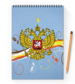 """Блокнот на пружине А4 """"Узор цветов"""" - цветы, россия, герб, орел, хохлома"""