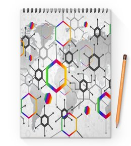 "Блокнот на пружине А4 ""Формула"" - узор, текстура, формула, химия, молекулы"