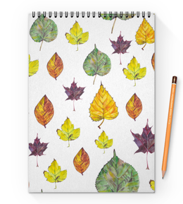 """Блокнот на пружине А4 """"Осенние листья"""" - оранжевый, листья, осень, желтый, акварель"""