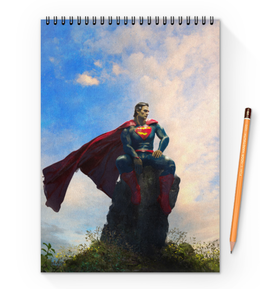 "Блокнот на пружине А4 ""Супермен (Superman)"" - комиксы, superman, супермэн, dc comics"
