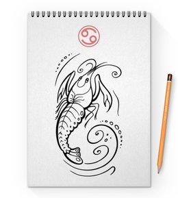 "Блокнот на пружине А4 ""Знак зодиака Рак"" - графика, знаки, зодиак, гороскоп, астрология"