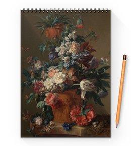 "Блокнот на пружине А4 ""Ваза с цветами (Ян ван Хёйсум)"" - цветы, картина, живопись, натюрморт, ян ван хёйсум"