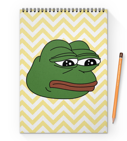 "Блокнот на пружине А4 ""Грустная лягушка"" - мем, meme, грустная лягушка, sad frog, pepe frog"