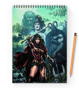 "Блокнот на пружине А4 ""Чудо-Женщина (Wonder Woman)"" - комиксы, dc comics, чудо-женщина, justice league, лига справедливости"