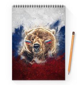 """Блокнот на пружине А4 """"Русский Медведь"""" - футбол, медведь, россия, флаг, триколор"""