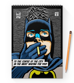"Блокнот на пружине А4 ""Иэн Бэтмен Кертис"" - batman, joy division, бэтмен, justice league, лига справедливости"